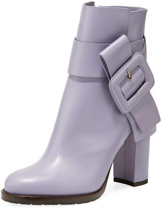 Valentino Leather Boots with Large Buckle