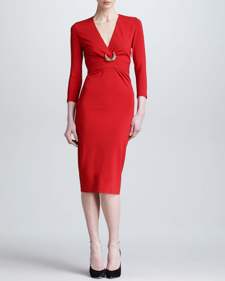 Roberto Cavalli Three-Quarter-Sleeve Ponte Dress, Red
