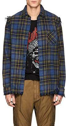 R 13 Men's Plaid Distressed Cotton Flannel Shirt