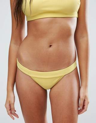 Asos Design DESIGN Mix and Match Deep Band Brazillian Bikini Bottom in Rib
