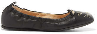 Charlotte Olympia Kitty Embroidered Leather Ballet Flats - Black