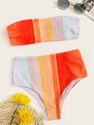d06a6c15cc Shein Color-block Bandeau With High Waist Bikini Set
