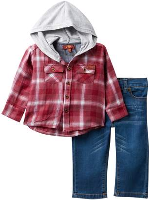 7 For All Mankind Plaid Hooded Top & Jeans Set (Baby Boys)