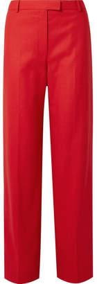 The Row Lada Grain De Poudre Wool Straight-leg Pants - Red