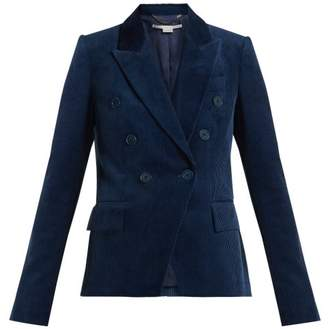 Stella McCartney Double Breasted Cotton Corduroy Blazer - Womens - Blue