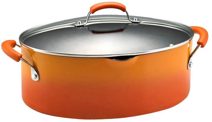 Rachael Ray 8 qt. Nonstick Covered Oval Pasta Pot with Pour Spout in Orange
