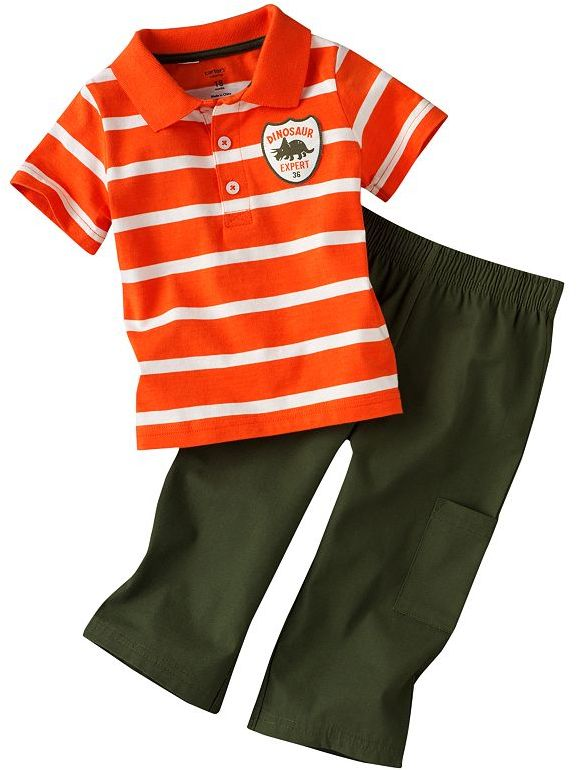 "Carter's ""dinosaur expert"" striped polo & pants set - baby"