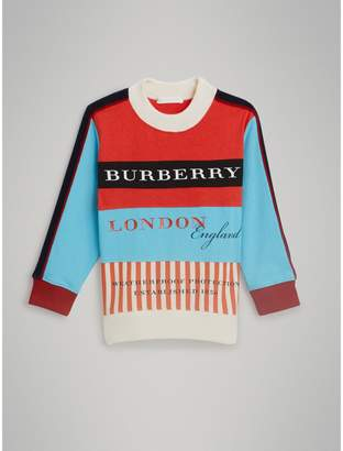 Burberry Logo Print Panelled Cotton Sweatshirt