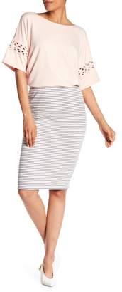 Max Studio Stripe Ottoman Pencil Skirt