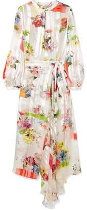 Preen by Thornton Bregazzi Patel Asymmetric Floral-print Silk-jacquard Dress - White