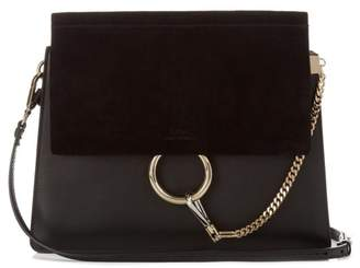 Chloé Faye Leather And Suede Shoulder Bag - Womens - Black