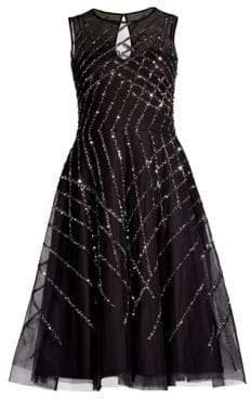 Aidan Mattox Embellished Sequin Cocktail Dress