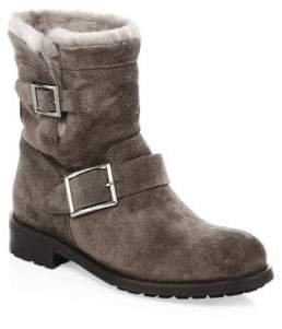 Jimmy Choo Youth Suede& Shearling Ankle Boots