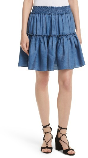 Women's Kate Spade New York Smocked Waist Chambray Skirt