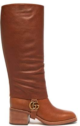 Gucci Lola Gg Plaque Gaiter Leather Boots - Womens - Tan