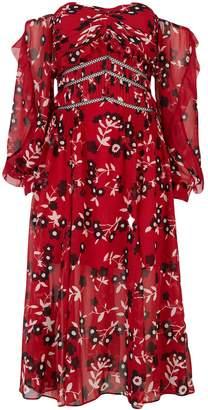 Self-Portrait Floral Pleated Midi Dress