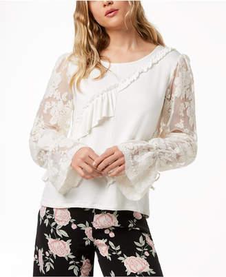 Kensie Ruffled Lace-Sleeve Sweater