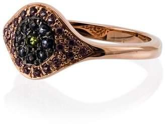 Ileana Makri 18k rose gold Cats Eye sapphire tsavorite ring