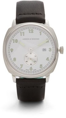 Larsson & Jennings Mk I Pilot Stainless Steel And Leather Watch - Mens - Silver