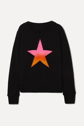 The Elder Statesman Intarsia Cashmere Sweater - Black