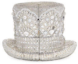 Judith Leiber Couture Abracadabra Crystal Top Hat Minaudiere, Silver Shade