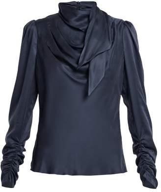 Zimmermann - Unbridled Neck Tie Silk Satin Blouse - Womens - Navy