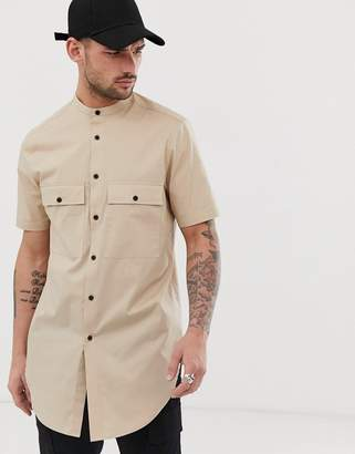Asos Design DESIGN regular fit shirt in sand in super long line
