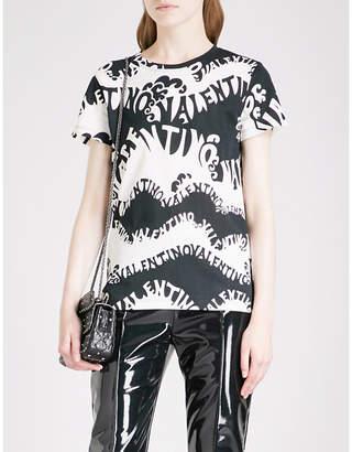 Valentino Wave logo-print cotton-jersey T-shirt