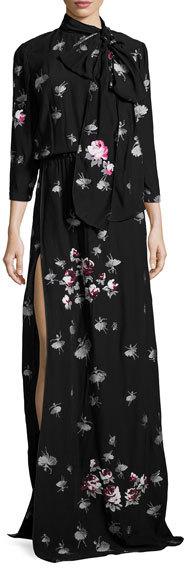 Marc JacobsMarc Jacobs 3/4-Sleeve Floral Tie-Neck Gown, Black