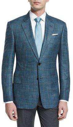 Armani Collezioni G-Line Melange-Windowpane Two-Button Jacket, Teal $1,495 thestylecure.com