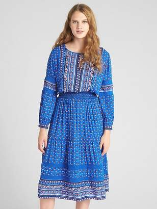 Gap Mix-Print Long Sleeve Tiered Midi Dress