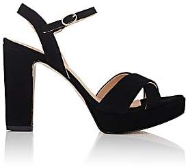 Barneys New York WOMEN'S SUEDE ANKLE-STRAP PLATFORM SANDALS-BLACK SIZE 6