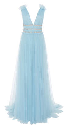 Monique Lhuillier Crystal-Embellished Organza Gown