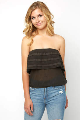 On The Road Caicos Gauze Ruffle Tube Top