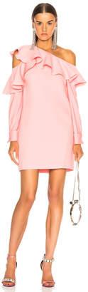 Oscar de la Renta One Shoulder Ruffle Trim Mini Dress