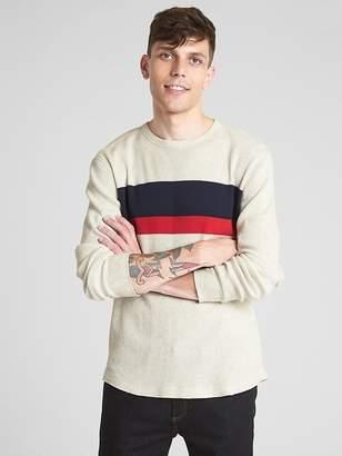 Gap Long Sleeve Stripe Classic T-Shirt in Waffle Knit