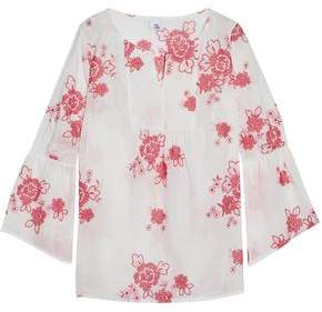 Iris & Ink Woman Gabriel Embroidered Cotton-gauze Blouse White Size 14 IRIS & INK Free Shipping Best Store To Get Affordable Online ifrjUygu