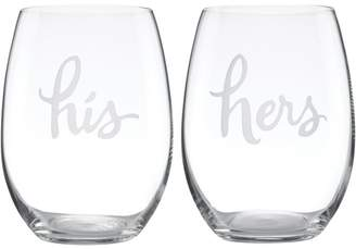 Kate Spade Two Of A Kind His & Hers Stemless Wine Glass, Set of 2