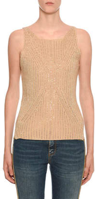 Ermanno Scervino Crystal-Embellished Sleeveless Cotton Sweater