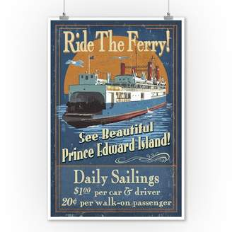 Prince Edward Island - Ferry Vintage Sign - Lantern Press Artwork (9x12 Art Print, Wall Decor Travel Poster)