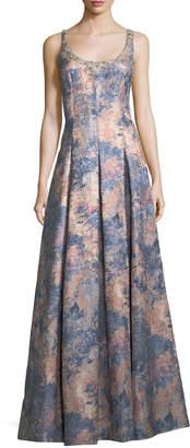 Aidan Mattox Embellished Scoop-Neck Sleeveless Jacquard Gown