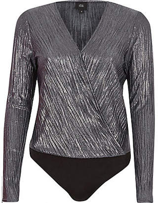 River Island Womens Silver metallic plisse wrap bodysuit