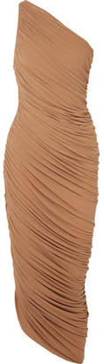 Norma Kamali Diana One-shoulder Ruched Stretch-jersey Dress - Light brown