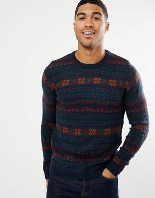Pull&Bear Fair Isle Sweater In Navy