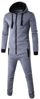 DOKER One Piece Men's Onesie Pajama Non Footed Zip Up Adult With Hoodie Jumpsuit Playsuit L
