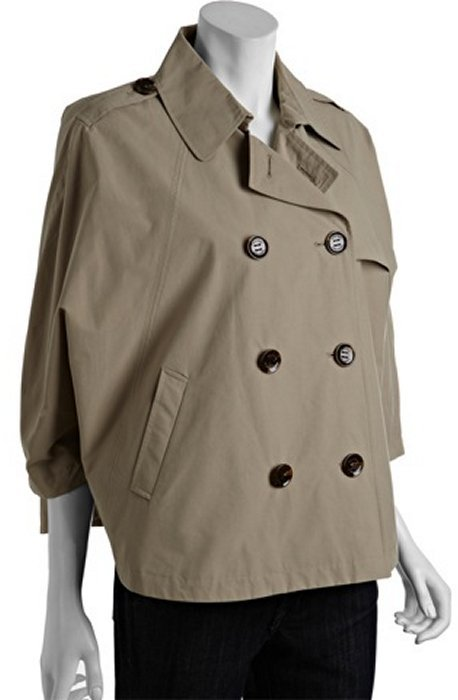 Calvin Klein tan cotton blend cropped double breasted trench style cape