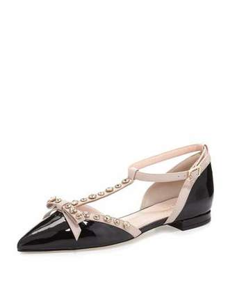 Kate Spade New York Becca Jeweled T-Strap Ballerina Flat, Black/Powder $378 thestylecure.com