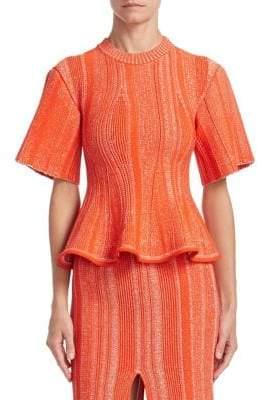 Proenza Schouler Knit Ruffle Peplum Top