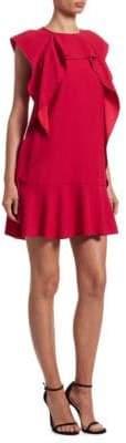 RED Valentino Ruffle Cap-Sleeve Dress