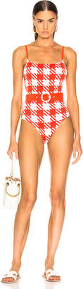 Solid & Striped Belted Nina Swimsuit in Lipstick Gingham   FWRD